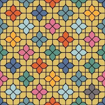 Cor delicada sem costura padrão floral em estilo oriental