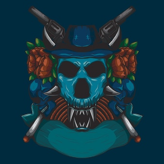 Cor detalhada ilustração de um crânio de cabeça de caçador com um ornamento de rosa vermelha e uma arma