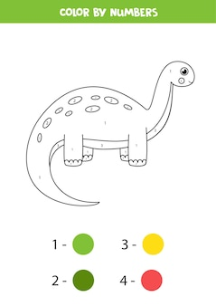 Cor dinossauro bonito dos desenhos animados por números. página para colorir para crianças.