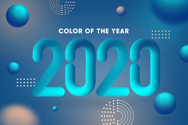Cor do ano 2020 com estilo de tipografia 3d