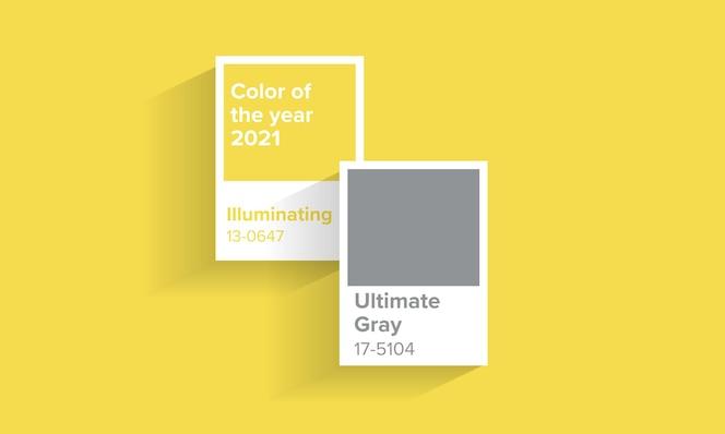 Cor do ano 2021. design gráfico cinza e amarelo 2021