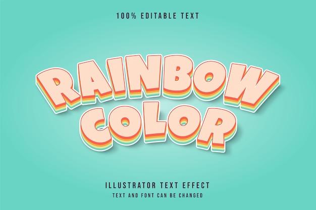 Cor do arco-íris, efeito de texto editável em 3d gradação creme amarelo laranja roxo estilo de texto