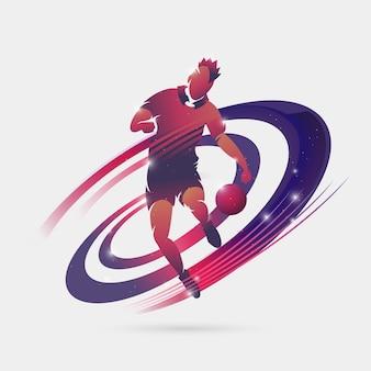 Cor do espaço do jogador de futebol
