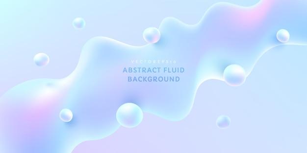Cor do holograma de forma fluida abstrata. design moderno e futurista em azul claro e rosa