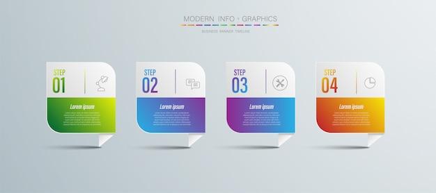 Cor do papel de origami de gráfico de 4 etapas no modelo de informação-gráfico de vetor para gráfico de apresentação do diagrama e conceito de negócio com opções de 5 ou 6 elementos