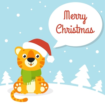 Cor do presente cartão tigre simbol em um chapéu de papai noel feliz ano novo e feliz natal