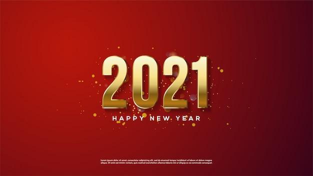 Cor dourada do ano novo feliz do fundo com um fundo vermelho.