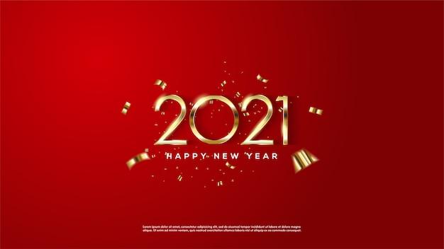 Cor dourada do ano novo feliz do fundo em um fundo vermelho.
