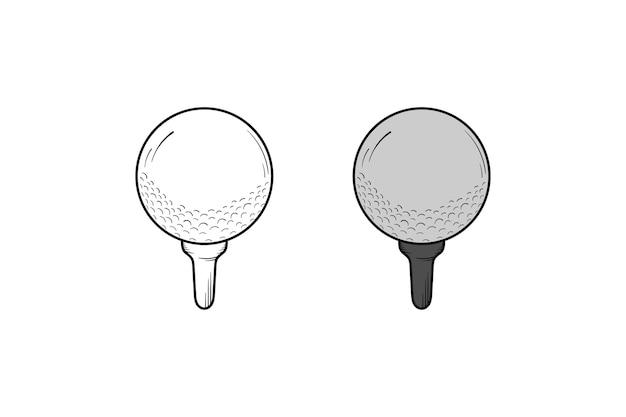 Cor e esboço da ilustração desenhada à mão da bola de golfe