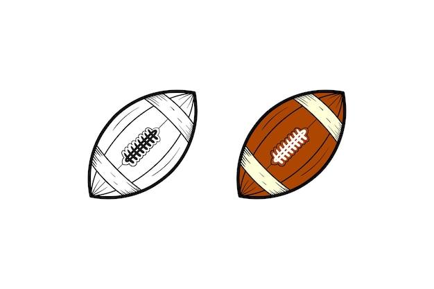 Cor e esboço de ilustração desenhada à mão de futebol americano