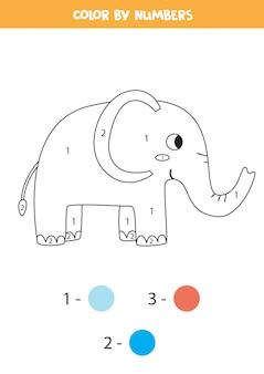 Cor elefante fofo por números. jogo de matemática para impressão.