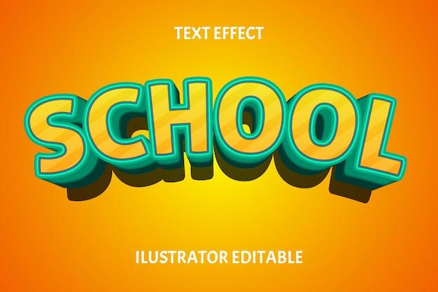 Cor escolar amarelo tosca efeito de texto editável