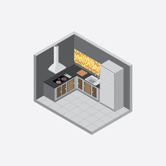 Cor escura da parede da cozinha isométrica