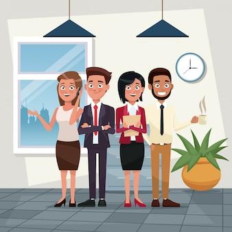 Cor fundo local de trabalho escritório corpo inteiro conjunto de executivos personagens para negócios ilustração vetorial