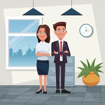 Cor, fundo, local de trabalho, escritório, corpo inteiro, jogo, par, mulher, curto, ondulado, cabelo