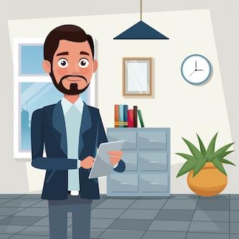 Cor fundo local de trabalho escritório meio corpo barbear homem personagens para negócios com tablet ilustração vetorial