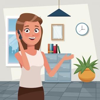 Cor fundo trabalho escritório meio corpo elegante executivo mulher falando para celular ilustração vetorial