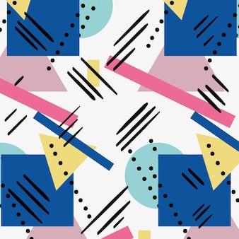 Cor geométrica figuras memphis estilo fundo ilustração vetorial