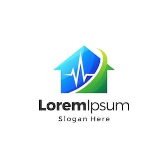 Cor gradiente do logotipo da house medical premium