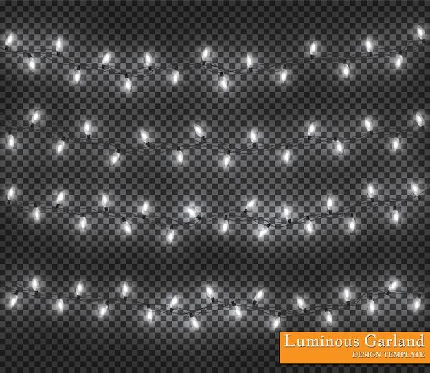 Cor guirlanda, decorações festivas. luzes brilhantes de natal isoladas em fundo transparente.