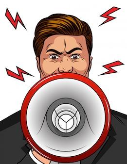 Cor ilustração estilo cômico de pop art de um homem bravo com um alto-falante na mão.