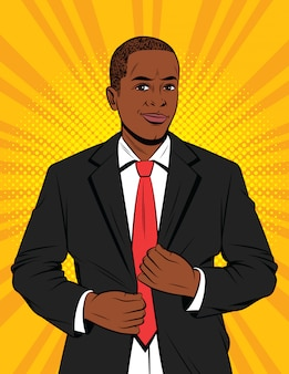 Cor ilustração estilo pop art de um empresário de terno. um belo rapaz afro-americano em uma jaqueta preta. gerente de escritório bem sucedido feliz