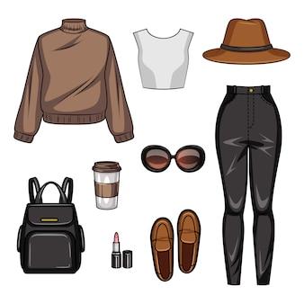 Cor ilustração realista de roupas casuais femininas. conjunto de estilo juvenil de roupas e acessórios femininos isolados