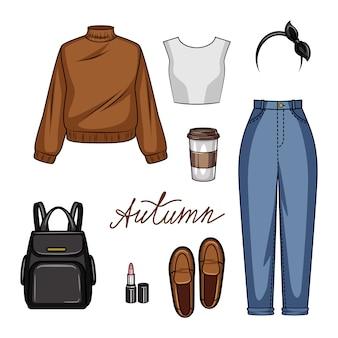 Cor ilustração realista de roupas femininas para escola. conjunto de estilo juvenil de roupas femininas e acessórios isolados