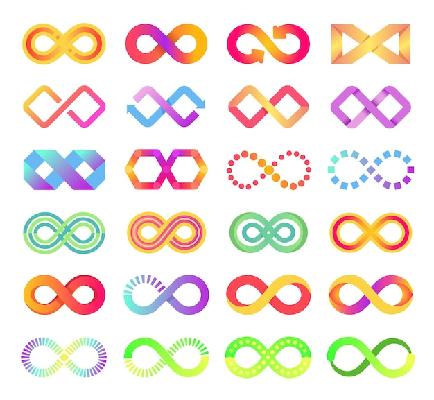 Cor infinito ícone loop infinito símbolo logotipo infinito setas correntes assinar conjunto de vetores abstratos de eternidade