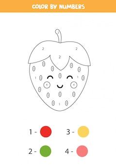Cor kawaii bonito morango por números. jogo educativo para crianças. aprendendo números. página para colorir engraçada.