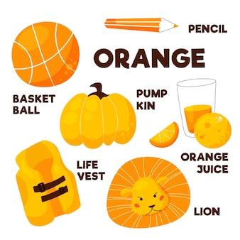 Cor laranja e vocabulário definidos em inglês