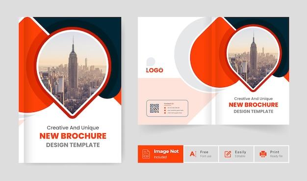 Cor laranja moderno modelo de design de brochura de negócios tema empresa perfil página de rosto apresentação