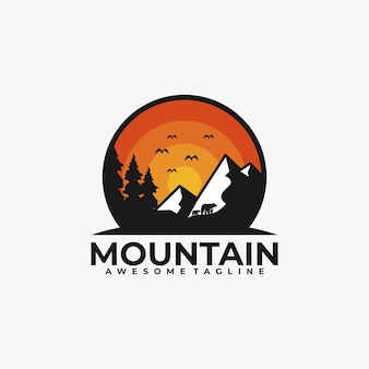 Cor lisa do vetor do design do logotipo da montanha