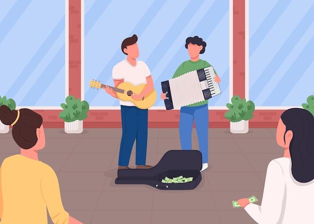 Cor lisa dos músicos de rua. o guitarrista e o acordeonista ganham dinheiro. a multidão escuta a performance. personagens de desenhos animados 2d de banda de música acústica com a cidade ao fundo