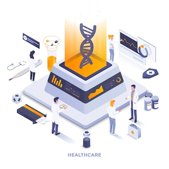 Cor lisa moderna ilustração isométrica - saúde