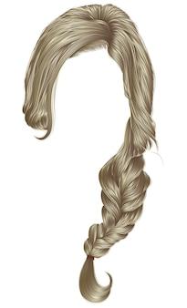 Cor loira dos cabelos das mulheres na moda. trança. moda.