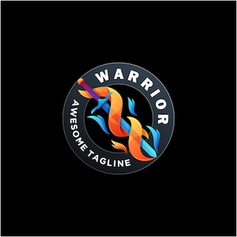 Cor moderna do vetor do design do logotipo warrior