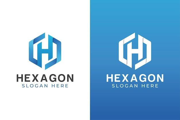 Cor moderna letra h com design de logotipo hexágono duas versões