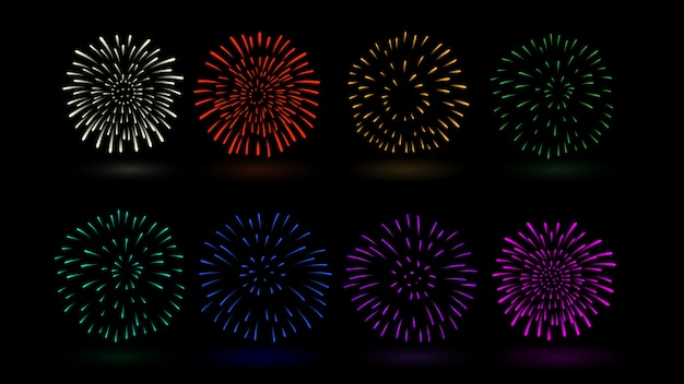 Cor múltipla do vetor do fogo de artifício na coleção. ideal para design sobre festival e celebração.