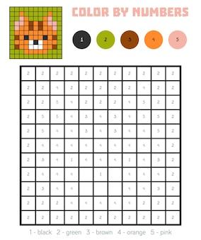 Cor por número, jogo educativo para crianças, gato