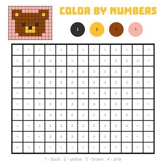 Cor por número, jogo educativo para crianças, urso