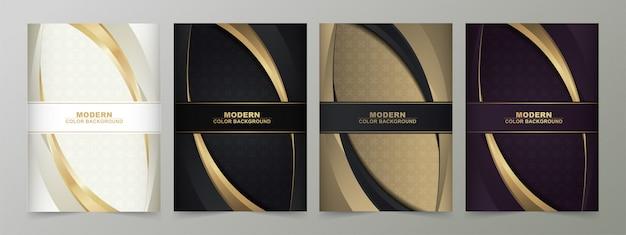 Cor preta e ouro abstrata mínima cobre design de padrão