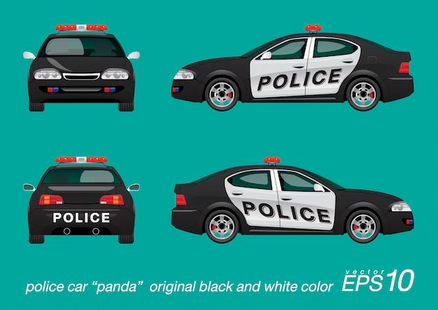 Cor preto e branco do carro de polícia