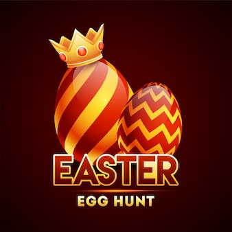 Cor realista brilhante vermelho e laranja ovo usando coroa em brown