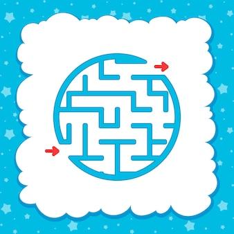 Cor redondo labirinto simples. planilhas de crianças. página de atividade.