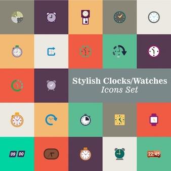 Cor relógios vector set