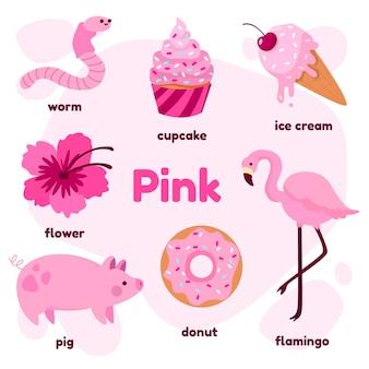 Cor rosa e vocabulário definido em inglês