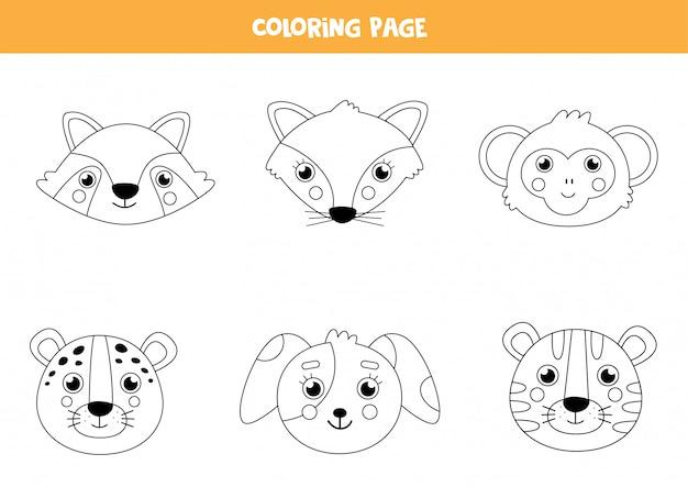 Cor rostos de animais fofos. página para colorir para crianças.