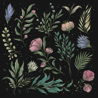 Cor suave de padrão floral vintage