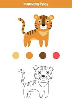Cor tigre bonito dos desenhos animados. planilha para crianças.